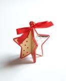 Poca stella di legno a forma di e decora l'argento Fotografia Stock Libera da Diritti