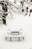 Poca tabella coperta di neve della polvere Immagine Stock