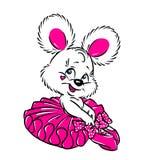 Poca tarjeta de la tarjeta del día de San Valentín del rosa de la bailarina de la muchacha del oso Fotografía de archivo libre de regalías
