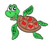 Poca tartaruga di mare con i cuori Immagine Stock
