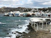 Poca Venezia, in Mykonos, visto dai mulini immagine stock libera da diritti