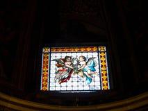 Poca ventana en la iglesia del ¹ de Gesà se localiza en el ¹ del Gesà de la plaza en Roma Foto de archivo libre de regalías