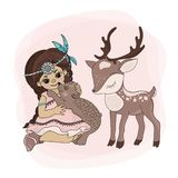 POCAHONTAS ANIMALS Indian Girl Pets Vector Illustration Set vector illustration