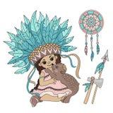 POCAHONTAS BEAR Indian Princess Animal Vector Illustration Set royalty free illustration