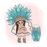 POCAHONTAS DANCE Indian Princess Hero Vector Illustration Set royalty free illustration