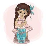 POCAHONTAS DRUM Indian Princess Hero Vector Illustration Set stock illustration