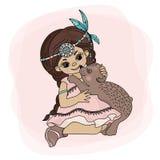 POCAHONTAS LOVE Indian Princess Bear Vector Illustration Set stock illustration