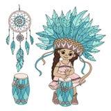 POCAHONTAS MUSIC Indian Princess Hero Vector Illustration Set stock illustration