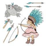 POCAHONTAS OWL American Indian Girl Vector Illustration Set stock illustration