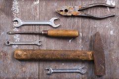 Pocas herramientas viejas. Fotos de archivo libres de regalías