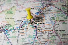 Pocatello, Idaho. A map of Pocatello, Idaho marked with a push pin royalty free stock images