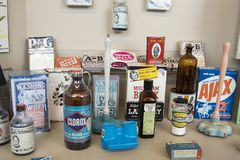 Display of vintage cleaning products. Pocatello, Idaho, USA - February 3, 2018 : Display of vintage cleaning products inside Museum of Clean Stock Image