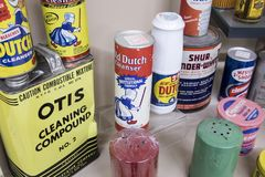 Vintage generic cleaning compounds. Pocatello, Idaho, USA - February 3, 2018 : Vintage cleaning compounds on display at the Museum of Clean stock photo