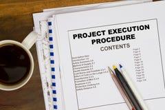 Pocedure de la ejecución de Projct fotografía de archivo