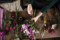 Pocess of making fresh compositions with white and purplr flowers stock image