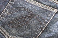 Poche arrière de fond noir de jeans de denim Image libre de droits