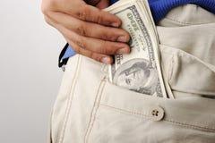 Poche avec de l'argent Photos stock