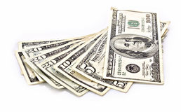 Poche banconote del dollaro isolate Fotografie Stock Libere da Diritti