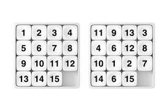 Poche blanche diapositive le jeu de puzzle de quinze Rebus rendu 3d Photos libres de droits