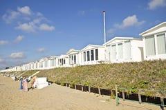 Poche case di spiaggia nei Paesi Bassi Fotografie Stock Libere da Diritti