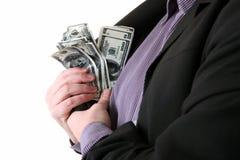 Poche des dollars d'argent de client des affaires Photographie stock libre de droits