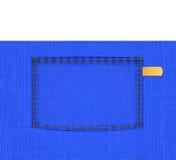 Poche sur le tissu simple bleu Photographie stock