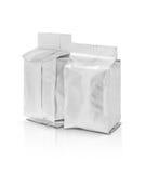 Poche vide d'aluminium d'emballage sur le fond blanc Photographie stock