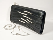 Pochette. In black on a white background and coordinated necklace royalty free stock photos