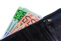 Pochette avec d'euro notes. Photo stock