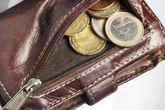 Pochette avec d'euro pièces de monnaie Photo libre de droits