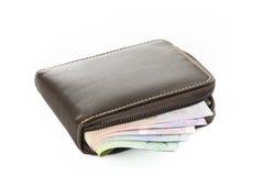 Pochette avec de l'argent d'isolement sur le fond blanc Photos stock
