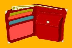 Pochette avec des cartes de crédit d'argent et Photos stock