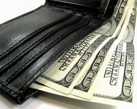 Pochette avec des dollars Images stock