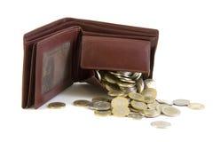 Pochette avec des pièces de monnaie image stock