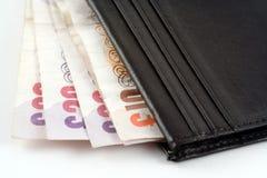 Pochette avec l'argent comptant Photographie stock