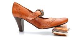 pochette de chaussure en cuir Image stock