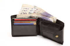 Pochette en cuir avec l'argent comptant Photo libre de droits