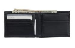 Pochette en cuir noire avec les cartes et l'argent comptant Images libres de droits