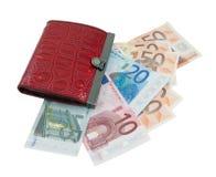 Pochette en cuir rouge et euro billets de banque Photo stock