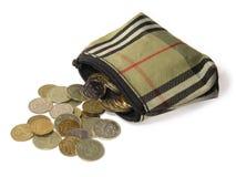 Pochette et pièces de monnaie Image libre de droits