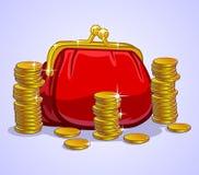 Pochette et pièces de monnaie Images stock