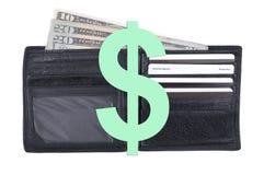 Pochette noire avec l'argent comptant américain exposé Photographie stock