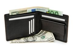 pochette noire d'OIN de cartes de visite professionnelle de visite de billets de banque Photographie stock
