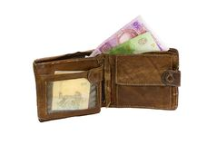Pochette usée avec de l'argent ukrainien Images libres de droits