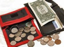 Pochettes, dollar, cents Photographie stock libre de droits