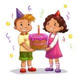 Pochi bambini del fumetto con la grande torta di compleanno Immagine Stock Libera da Diritti