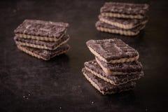 Pochi biscotti del cioccolato in tre pile sul vassoio scuro Fotografia Stock