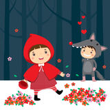 Pochi cappuccio di guida rosso e lupo grigio illustrazione di stock