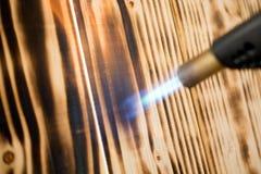 Pochodnia pali drewno zdjęcie stock