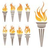 Pochodnia symbolu set ilustracji